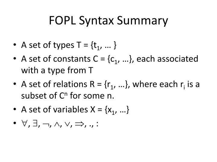 FOPL Syntax Summary