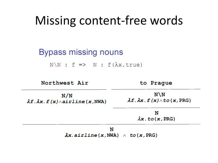 Missing content-free words