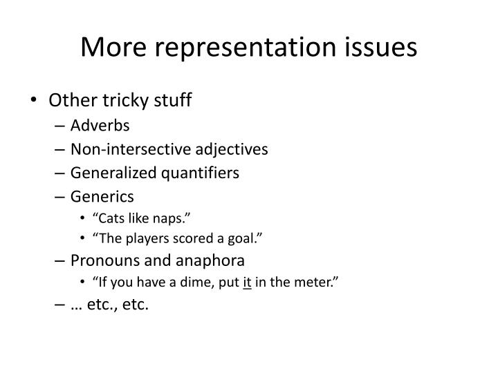 More representation issues