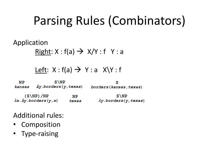 Parsing Rules (Combinators)