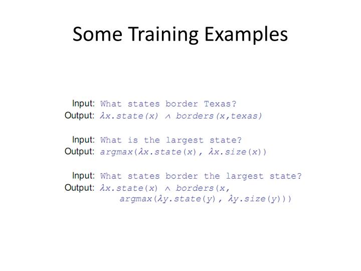 Some Training Examples
