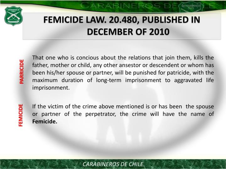 FEMICIDE LAW. 20.480, PUBLISHED IN DECEMBER OF 2010