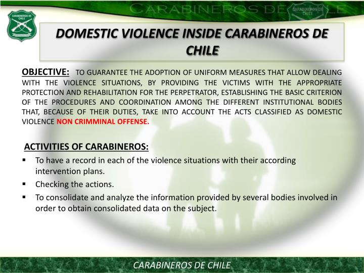 DOMESTIC VIOLENCE INSIDE CARABINEROS DE CHILE