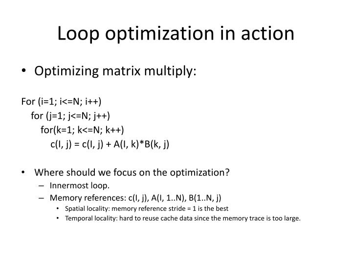 Loop optimization in action