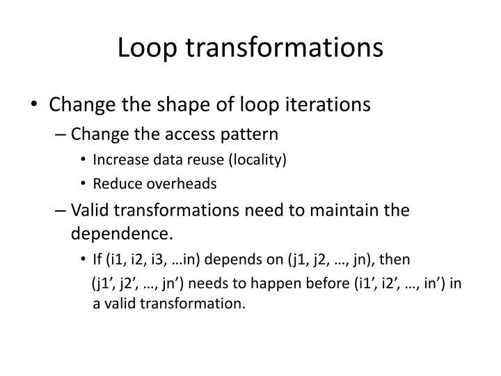 Loop transformations