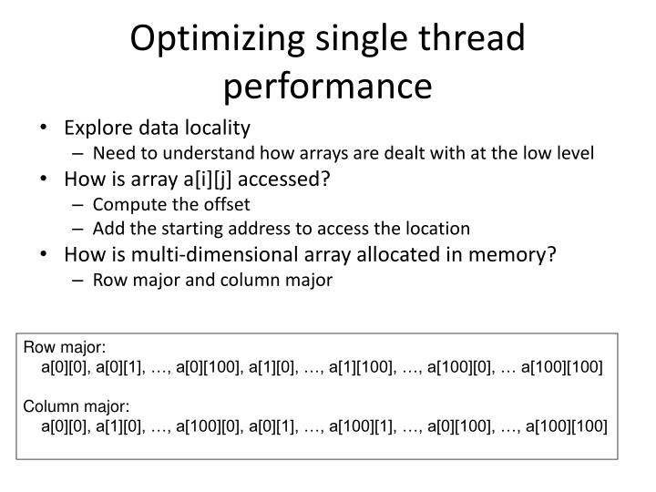 Optimizing single thread performance