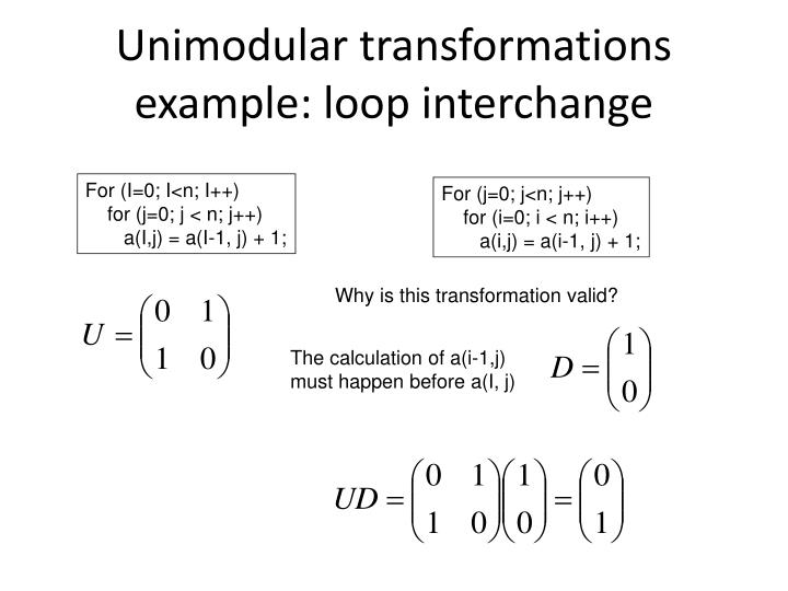 Unimodular transformations example: loop interchange