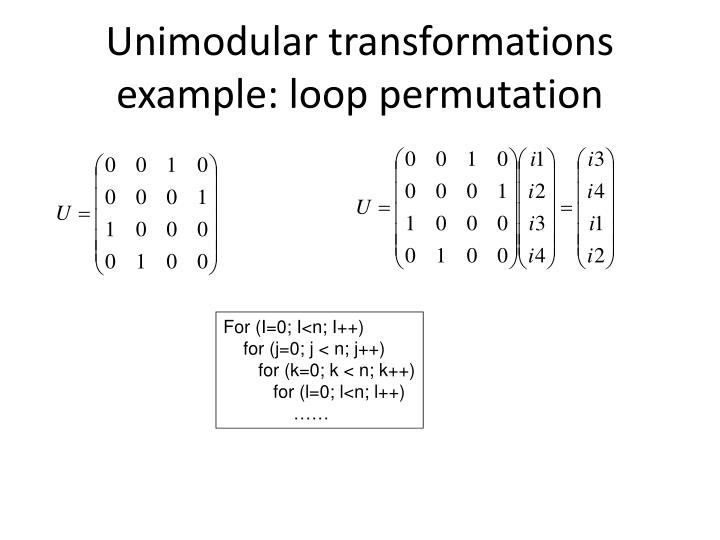 Unimodular transformations example: loop permutation