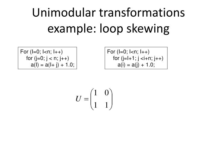 Unimodular transformations example: loop skewing