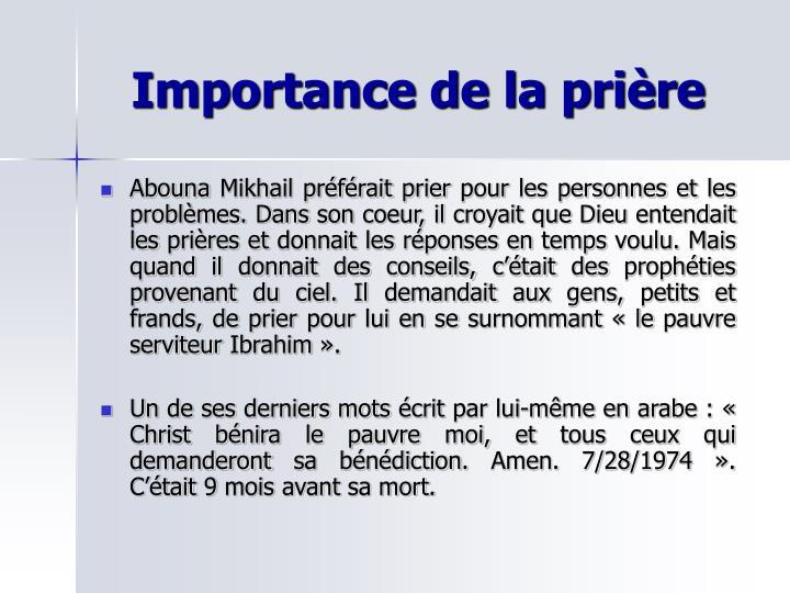Importance de la prière