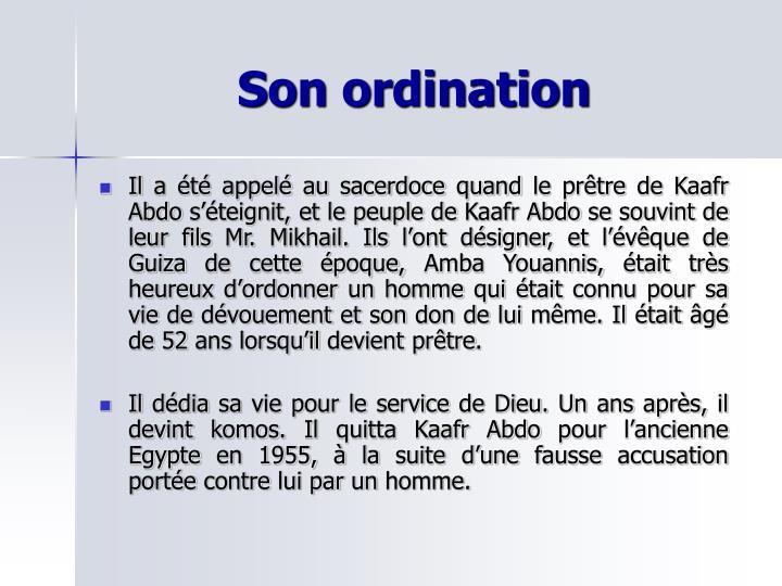Son ordination