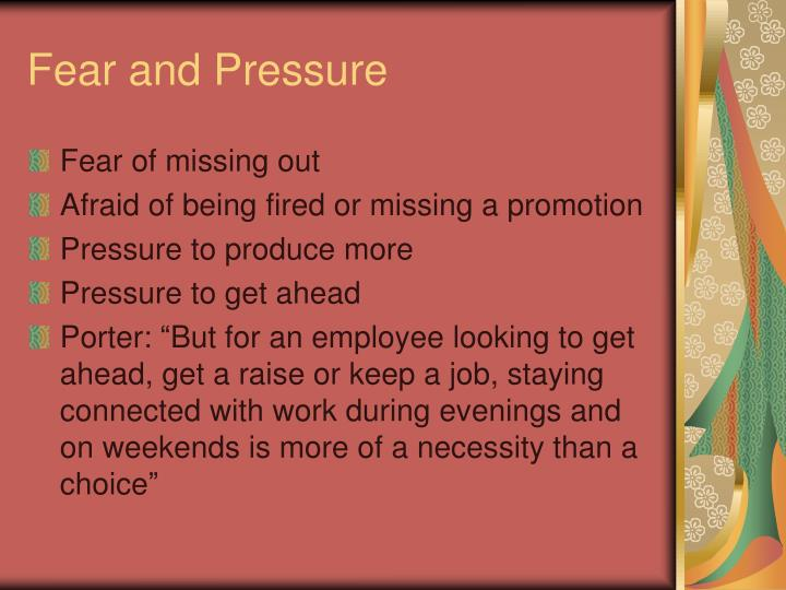 Fear and Pressure