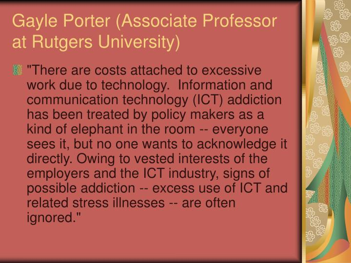 Gayle Porter (Associate Professor at Rutgers University)