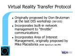virtual reality transfer protocol