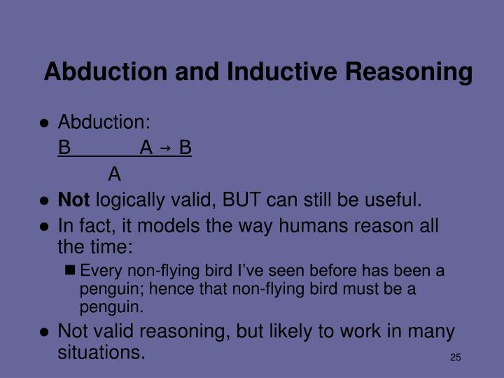 Abduction and Inductive Reasoning