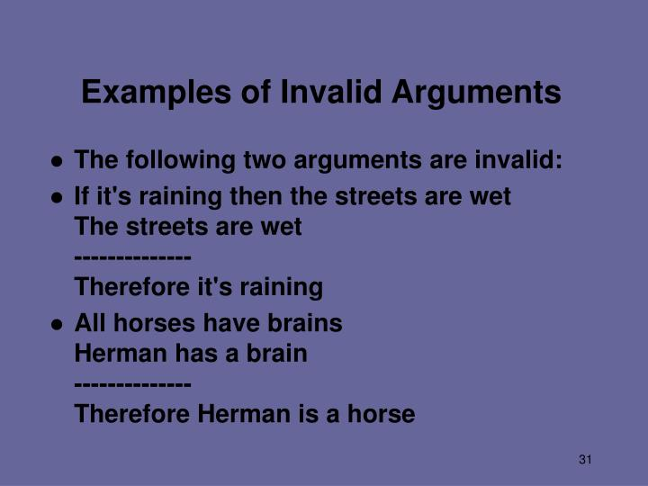 Examples of Invalid Arguments
