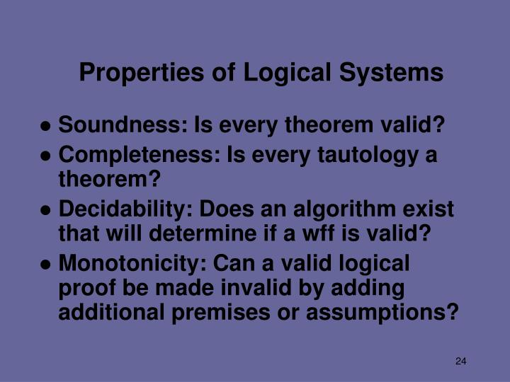Properties of Logical Systems