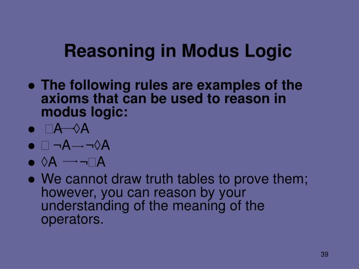 Reasoning in Modus Logic