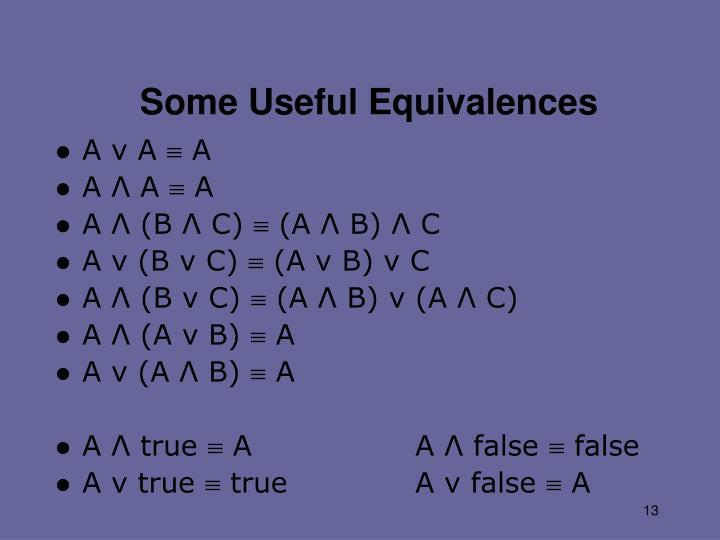 Some Useful Equivalences