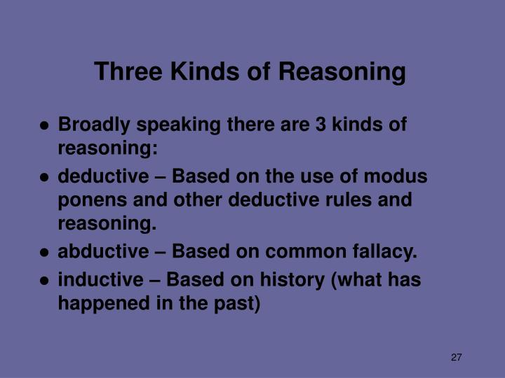 Three Kinds of Reasoning