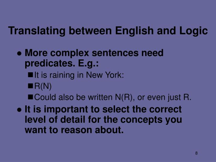 Translating between English and Logic
