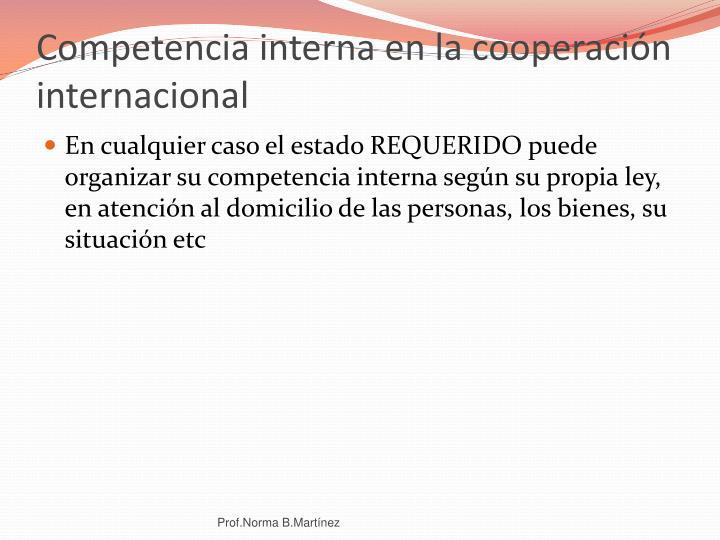 Competencia interna en la cooperación internacional