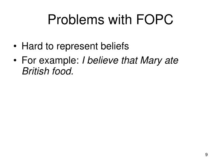 Problems with FOPC