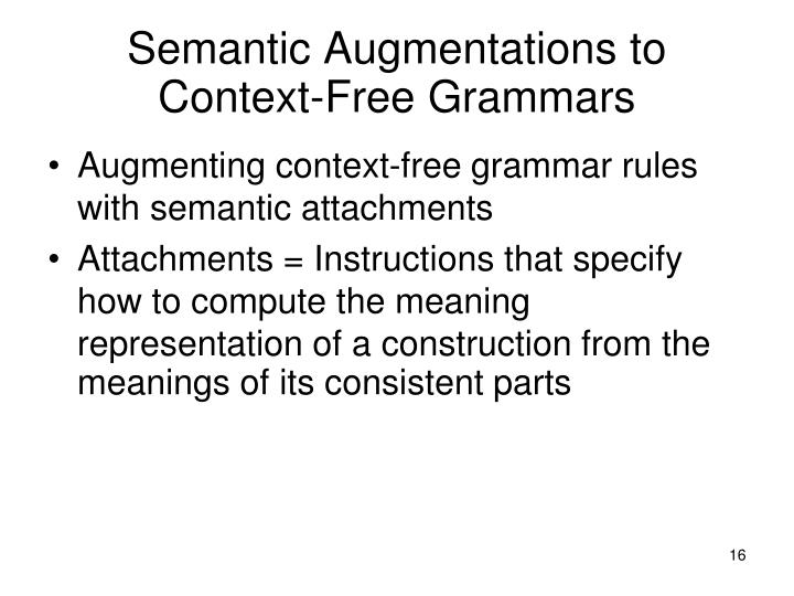 Semantic Augmentations to Context-Free Grammars