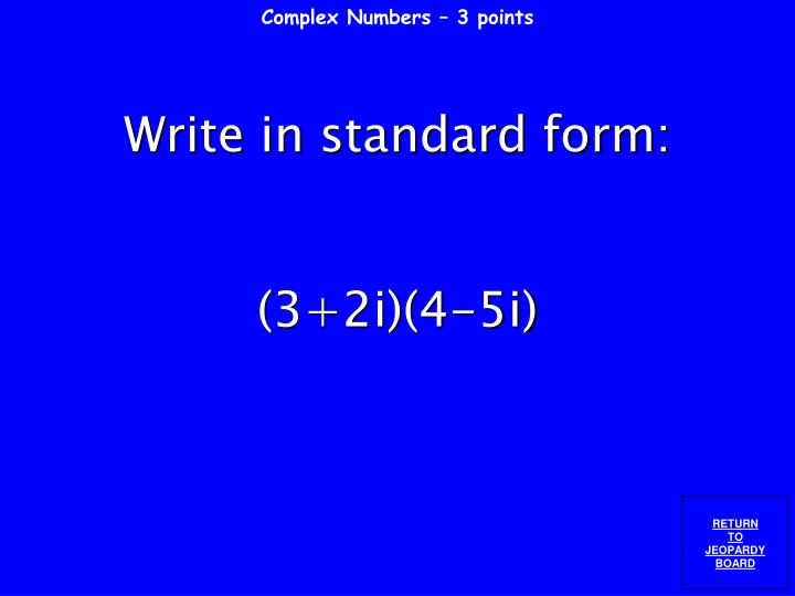 Complex Numbers – 3 points