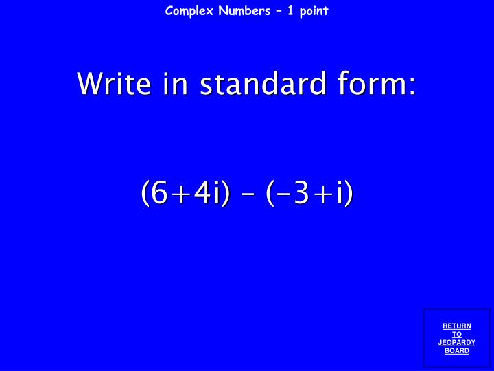 Complex Numbers – 1 point