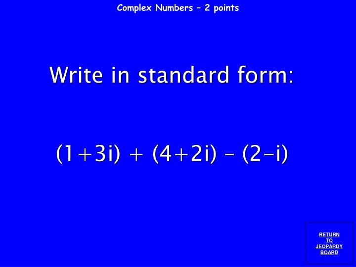 Complex Numbers – 2 points