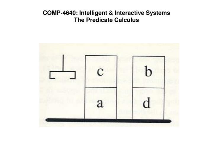 Comp 4640 intelligent interactive systems the predicate calculus
