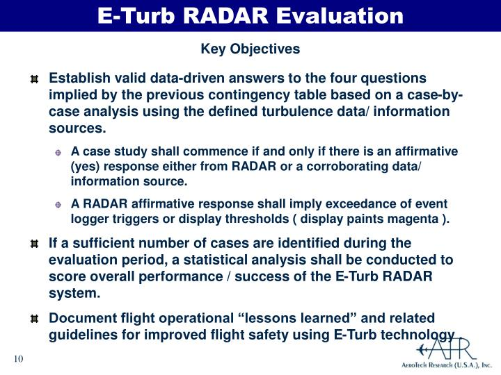 E-Turb RADAR Evaluation