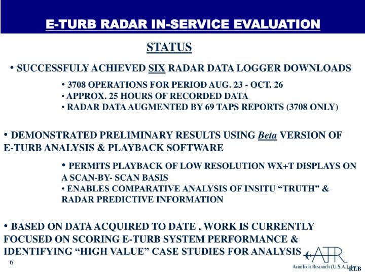 E-TURB RADAR IN-SERVICE EVALUATION