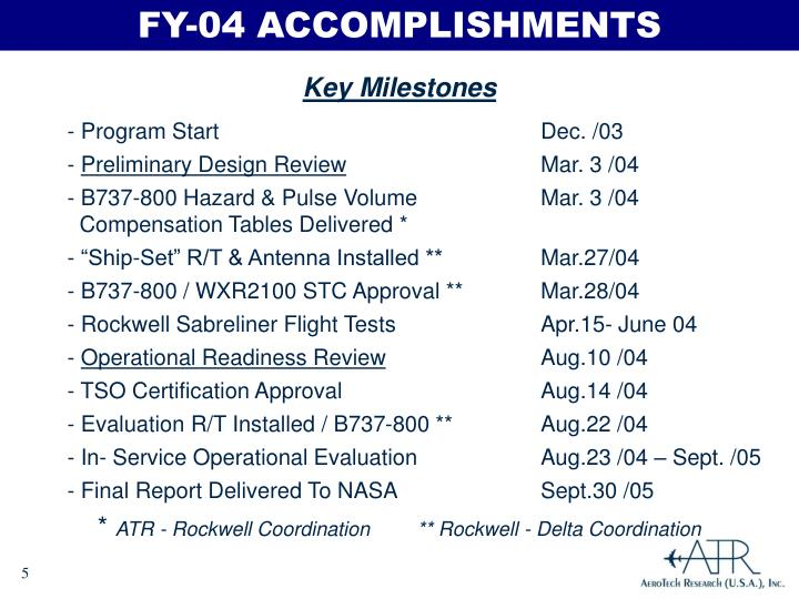 FY-04 ACCOMPLISHMENTS