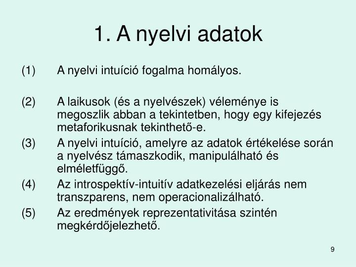 1. A nyelvi adatok