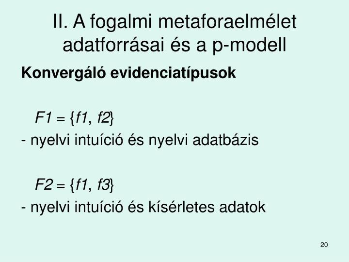 II. A fogalmi metaforaelmélet adatforrásai és a p-modell