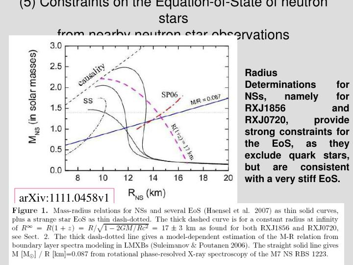 (5) Constraints on the Equation-of-State of neutron stars