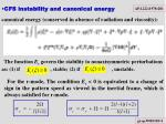 cfs instability and canonical energy