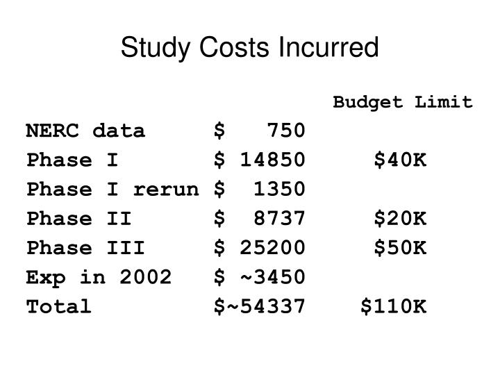 Study Costs Incurred