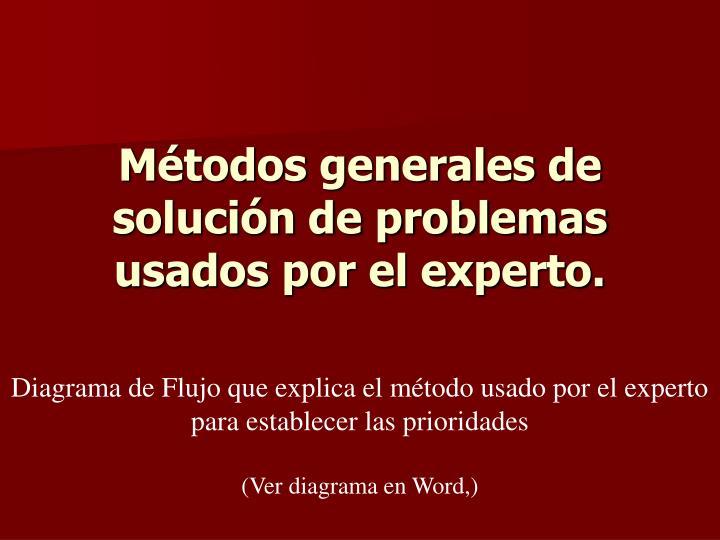 Métodos generales de solución de problemas usados por el experto.