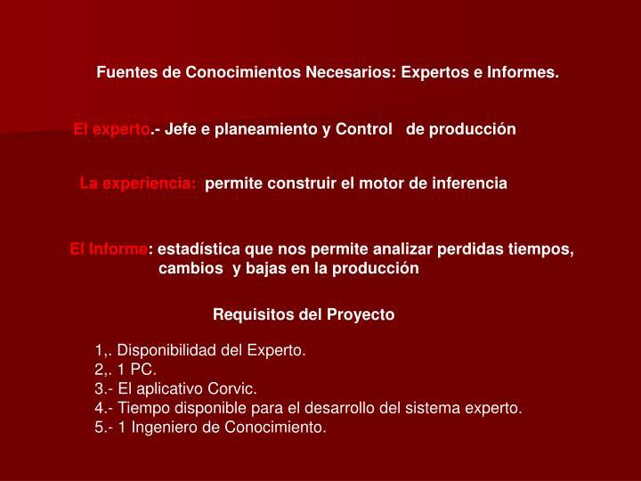 Fuentes de Conocimientos Necesarios: Expertos e Informes.
