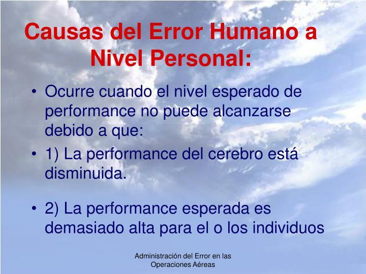 Causas del Error Humano a Nivel Personal: