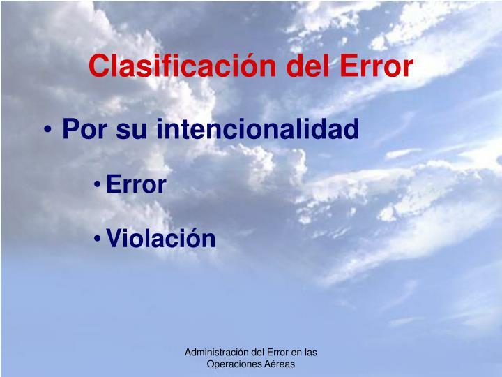Clasificación del Error