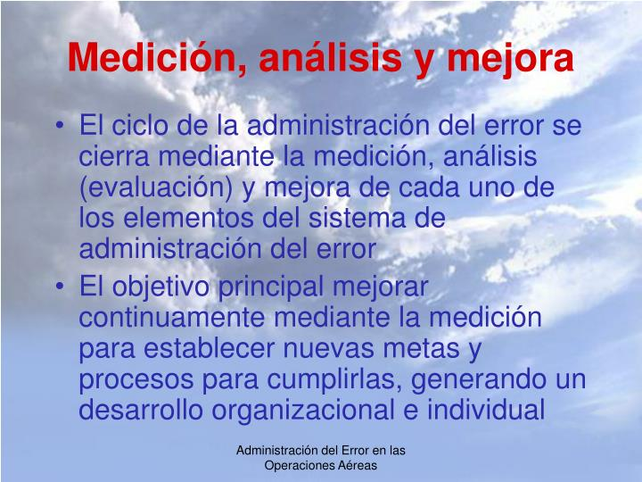Medición, análisis y mejora