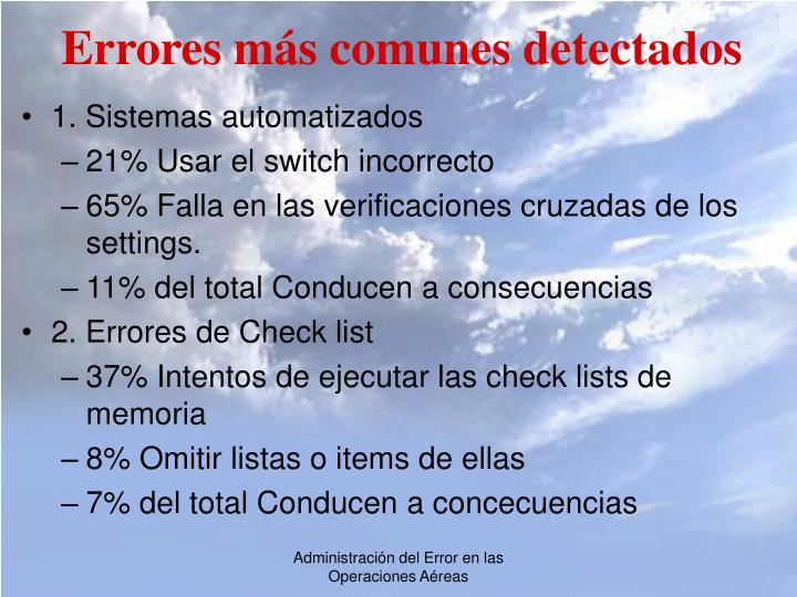 Errores más comunes detectados