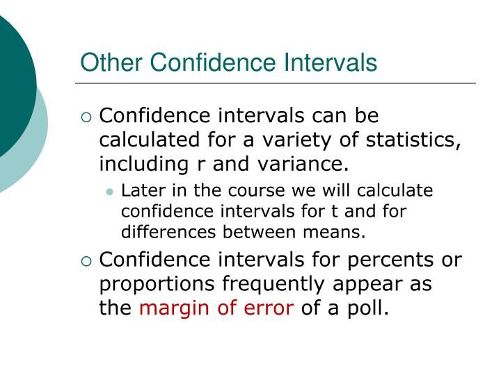 Other Confidence Intervals