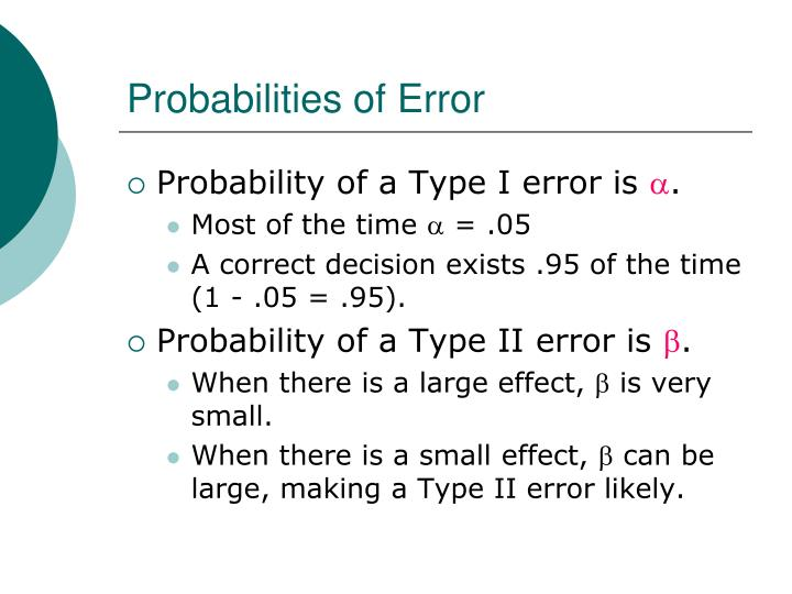 Probabilities of Error