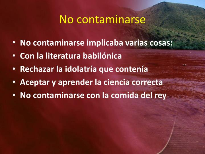 No contaminarse