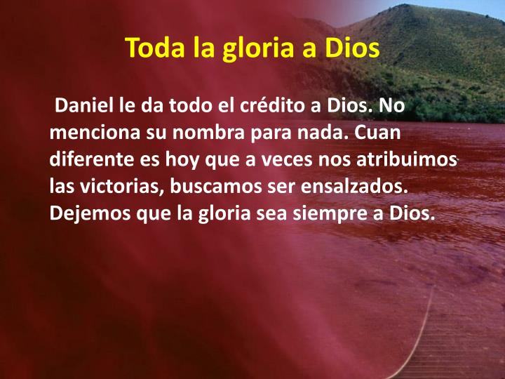 Toda la gloria a Dios